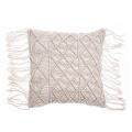 blue macrame outdoor pillow