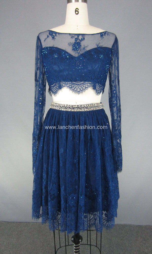 Two Pieces Beaded Short Prom Dress