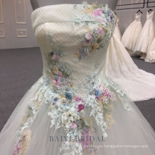 Vestidos de noche sin tirantes elegantes de las flores de la muchacha del cordón 2018 Maxi vestido de noche formal