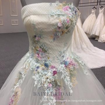 Elegantes weißes Spitze-Mädchen blüht trägerloses Abendkleid-formale Abend-Kleid 2018 Maxi