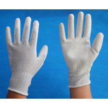 carbon fiber knitted working gloves coated with PU on palm/anti static gloves