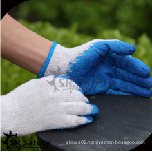 SRSAFETY cheap price/10g polyester shell smooth latex coated/safety gloves