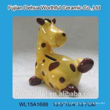Pintura cerâmica girafa mealheiro