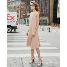 Einfaches ärmelloses rosa Rundhals-Fishtail-Kleid für Damen