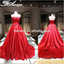 2016 latest fashion women plus size a line red halter ball gown