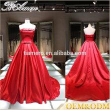 2016 последние мода женщин плюс Размер a-line бальное платье красный холтер