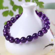 Mens purple real amethyst stone bead bracelet