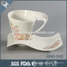 White porcelain coffee cup set with gold flower decal, small mug set