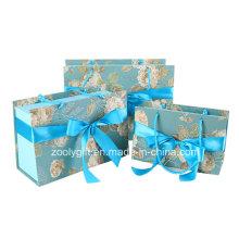 Custom Design impressão transportadora papel Gift Boxes sacos com Ribbon Bow