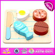 Jouet en bois coloré en bois fruit en gros pour enfants, jouets en bois fruit set jouet de découpage pour enfants, jouet en bois coupé pour bébé W10b091-B