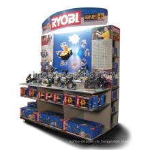 Wirtschaftlich freistehende Metall Holz Regal Point of Sale Custom Werbung Power Tools Display Stand
