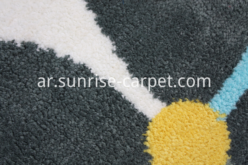 Microfiber Shaggy Rug with Geometry Design