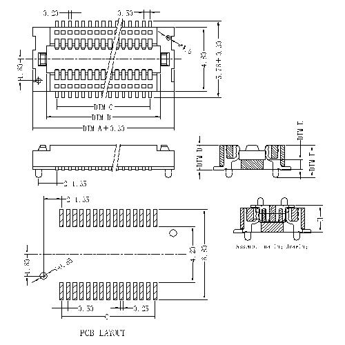 0.5mm Board to board connector, Female,double groove, mating height=1.5~2.0mm