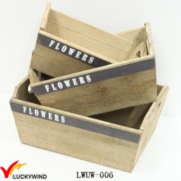 Vintage madera al por mayor cajas de plantadores con manijas