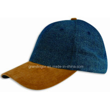 Six Panels Denim Baseball Cap with Leather Visor