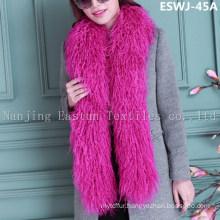 Long Pile Natural Mongolian Fur Scarf Eswj-45A