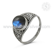 Espectacular Labradorite Gemstone Silver Ring atacado 925 Sterling Silver Jewelry Indian Handmade Online Silver Jewelry
