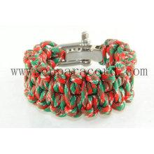 """pulseira de paracord camo vermelho e verde 8 """"longa fivela ajustável de metal"""