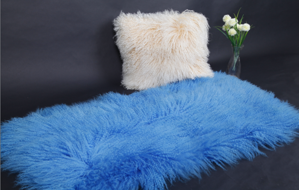 Tibetansk Curly Fur Sheepskin Blankett