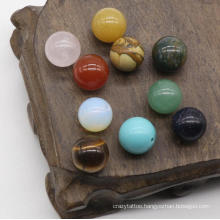 8-12mm Semi-Hole Beads Agate Crystal Semi-Precious Stones DIY Natural Stone Jewelry Inlaid Materials Agate Semi-Hole Round Beads