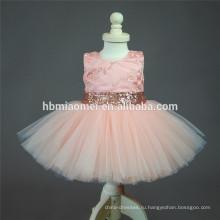 2017 новая мода девушки цветка платье Алиэкспресс,Амазонка горячий продавать розовый цвет без рукавов блестки девочка платье