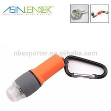 Impermeável, mini, conduzido, lanterna, keychain, escalando, botão, carabiner
