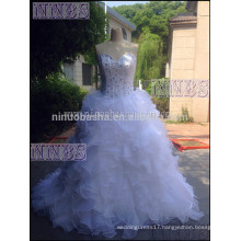 Briliant A Line Sweetheart Strapless Organza Ruffles Wedding Dress With Rhinestones Bandage Closure Bridal Gown