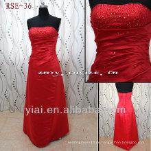 RSE36 wulstiges rotes Abendkleid