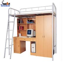 Dortoir mobilier adulte en métal lit superposé avec bureau
