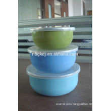 3 sets bule decals enamel ice bowl & enamels cookware with PE lid