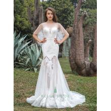 Novo projeto floral encalha appliques bainha vestido de noiva pura saia peixe cortar hemline casamento vestido nupcial com capes
