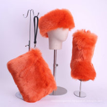 Superstarer Ladies Fur Winter Boots Wholesale Women Multi Color Snow Fur Boot Set with Headband and Purse