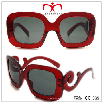 Ladies Plastic Sunglasses with Big Square Frame and Special Temple (WSP508242)