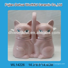 Cute potes de cerámica de cerámica doble con diseño de zorro rosa