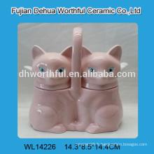 Mignon double vasque en céramique avec motif rose de renard