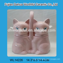Cute double ceramic seasoning pots with pink fox design