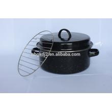 Enamel roast with enamel handle and stainless steel rack