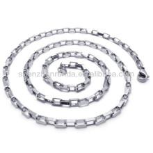 Prata banhado nunca desaparecer aço inoxidável para homens jóias 2.5 milímetros colar de corrente de largura