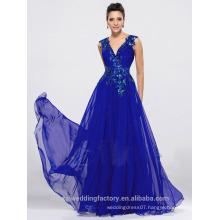Alibaba Elegant Applique Long New Designer V Neck Royal Blue Beach Evening Dresses Or Bridesmaid Dress LE15