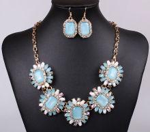 Fashion Alloy Resin Chain Flower Pattern Earrings Necklace Wedding Bride Jewelry Sets