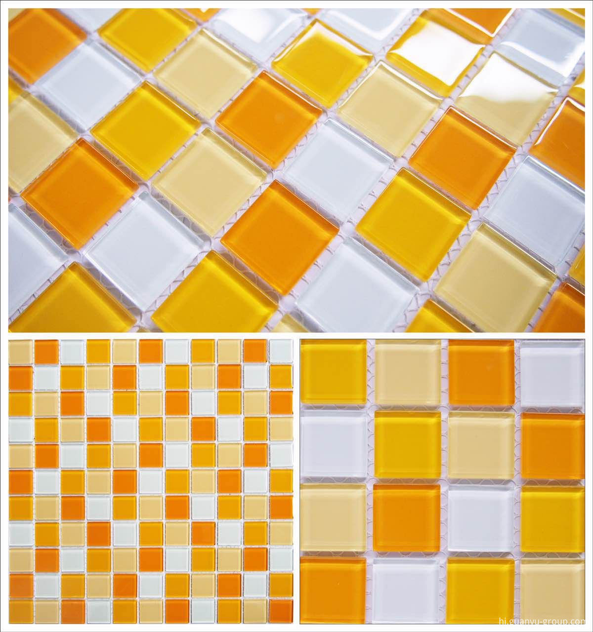 Simple Color Mixed Crystal Glass Mosaic