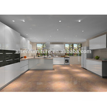 Design de cozinha personalizado Modern Style High Gloss White Lacquer Kitchen Cabinet Handle Free