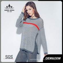 Women Long Sleeve Autumn Winter Striped Knitted Pullover Sweater
