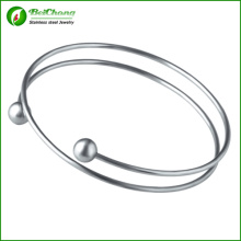 Fashion Women Cuff Jewelry Opening Bead Silver 316l Stainless Steel Bracelet Bangles