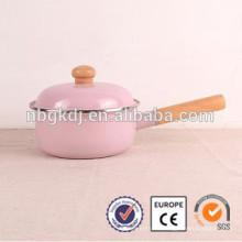 olla de barro hecha a mano de la India mini olla de cocina y mango de madera