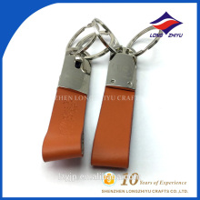 Simple Brown Color Key Chain Leather Keyring