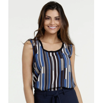 High quality Woven Stripe printed Strap ladies tops
