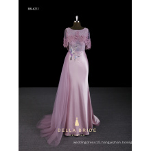 Pink new design long cap sleeves sheath evening dress with side long train