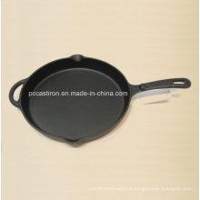 Frigideira pré-preparada de ferro fundido China Tamanho da fábrica 30X4cm