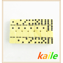 Double six light yellow domino in leather box